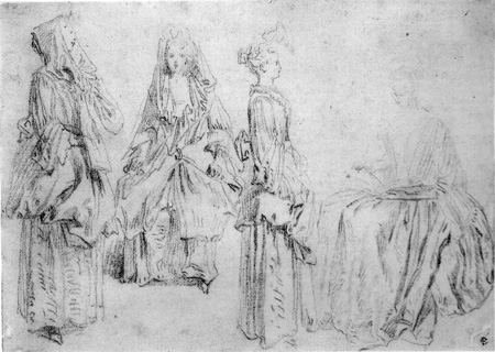 Watteau Drawing Four Studies of a Woman