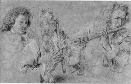 Watteau Studies of a Flutist and a Boy