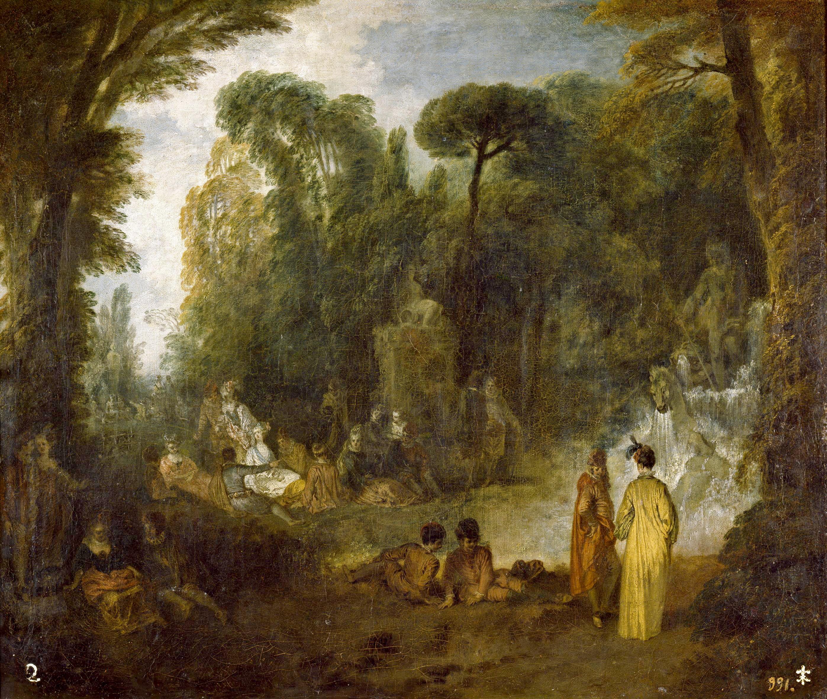 Watteau abecedario l 39 assembl e pr s d une fontaine de neptune - Saint cyprien les jardins de neptune ...