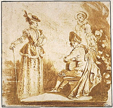 Watteau Three Studies of a seated woman